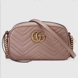 GUCCI Dusky Pink! Marmont Small Quilted Camera Bag